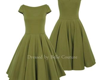 Vintage jersey dress Audrey Olive Short Sleeve
