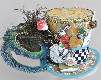 Mad Hatter Mini Top Hat, Mad Hatter Costume Fascinator, Birthday Hat, Alice in Wonderland Hat, Tea Party Hat, Mad Hatter Fascinator