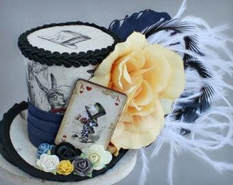 Mad Hatter Mini Top Hat, Mad Hatter Costume, Wonderland Birthday Hat, Alice in Wonderland Hat, Alice Tea Party Hat, Mad Hatter Fascinator