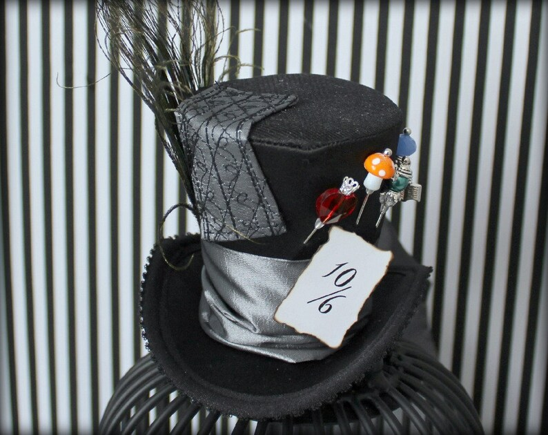 Black Mad Hatter Hat Mad Hatter Hat Mini Top Hat  0810e9190a0