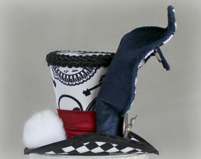 Tea Party Hat Boys Top Hat White Rabbit Mini Top Hat Alice in Wonderland Hat Birthday Hat White Rabbit Costume Fascinator Wedding Hat