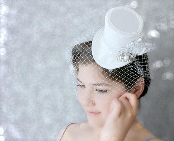 Weisse Mini Hut Hochzeit Hut Braut Zylinder Tea Party Hut Etsy