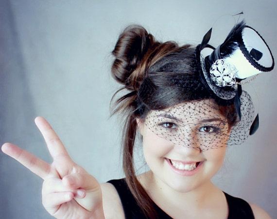 White Mini Top Hat Wedding Top Hat Mini Hats Tea Party Hat  83ee20f37fb