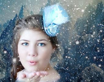 Snow Queen Crown, Snow Queen Mini Hat, Snow Queen Mini Top Hat, Snow Queen Costume, Blue Mini Top Hat, Snow Hat, Snowflake Hair Accessories