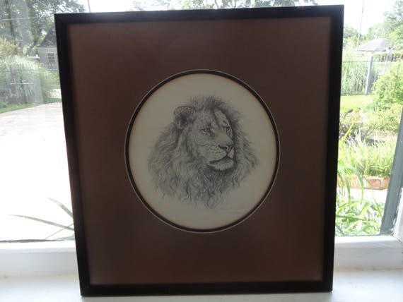 Maxine Whitfield Number 49 of 200 Framed and Matted LION HEAD PORTRAIT