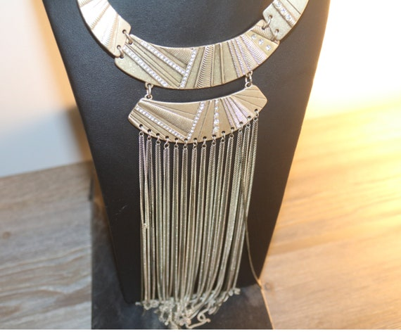 Statement Necklace, Egyptian Revival Long Gypsy st