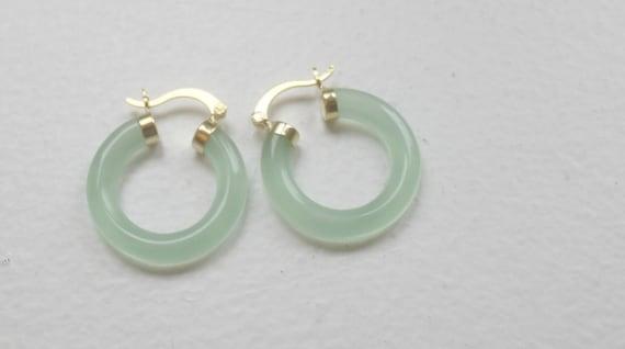 Green Jade Earrings, Jade Hoop Earrings,  Gold Fil