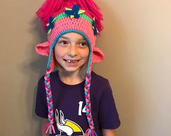 Crochet Poppy Troll Inspired Hat