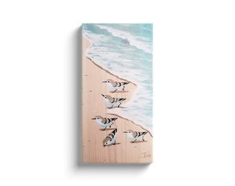 10x20 Running Sanderlings On Beach Whitewash Aqua Wrapped canvas print