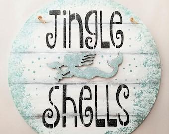 Jingle Shells Custom color Mermaid sign round - white - mermaid art  beach house decor - custom colors