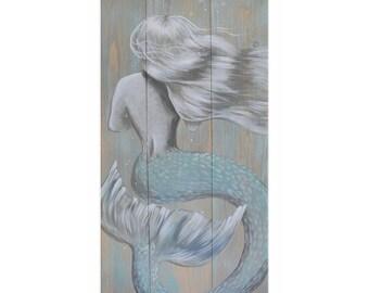 Green Rustic Mermaid 15x30 Canvas Wrap Print