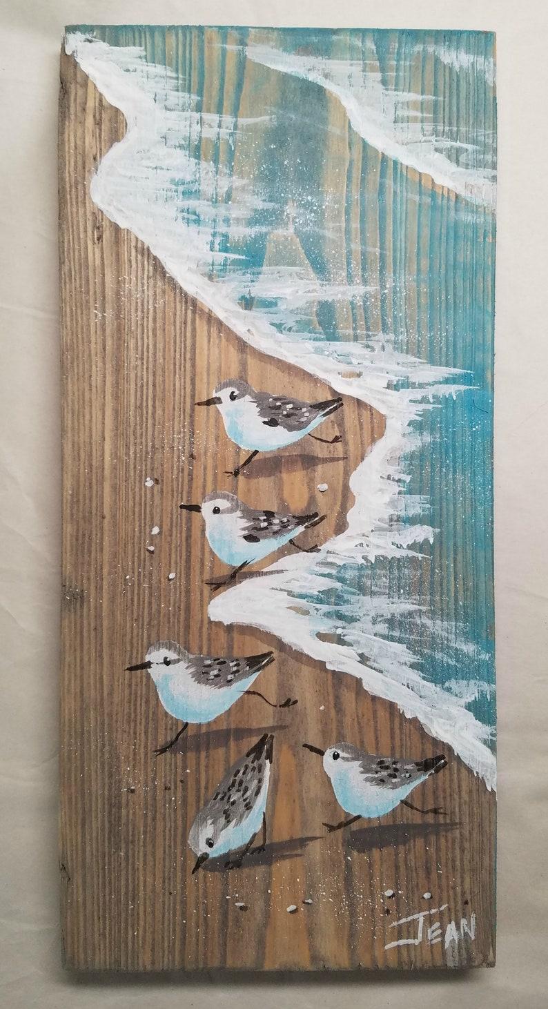 Sanderling art  beach painting  beach house  distressed image 0