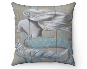 Green Rustic flowy Mermaid 16x16 inch Spun Polyester Square Pillow
