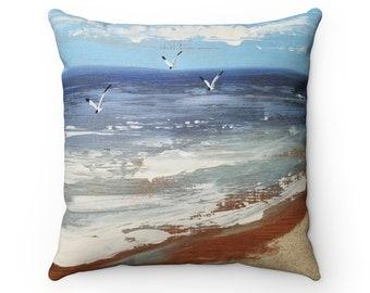 Rustic Beach scene Spun Polyester Square Pillow