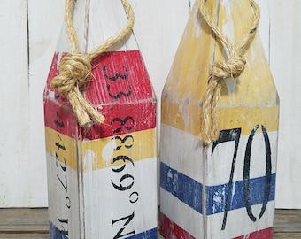 House number buoy - latitude longitude - classic nautical - stripe - lobster buoy - nautical decor -  beach house decor - custom order