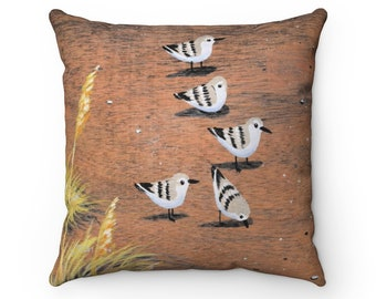 Sanderlings and Sea Oats 16x16 Spun Polyester Square Pillow