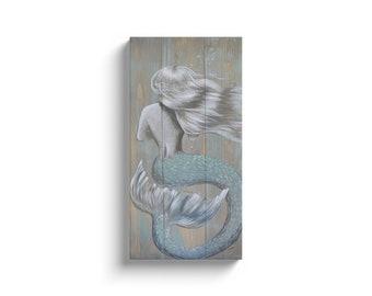 Green Rustic Mermaid 10x20 Wrapped Canvas Print