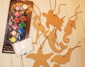 Ready to finish, hanging ornament kit, coastal shapes, seahorse, mermaid, flamingo, starfish, sea turtle, pelican DIY kit