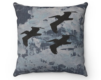 Nautical Blue Flying Pelicans 16x16 inch Spun Polyester Square Pillow