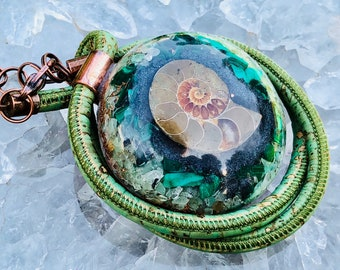 Orgonite® Orgone Pendant (Large) - Malachite/Green Aventurine/Ammonite - FREE WORLDWIDE SHIPPING!