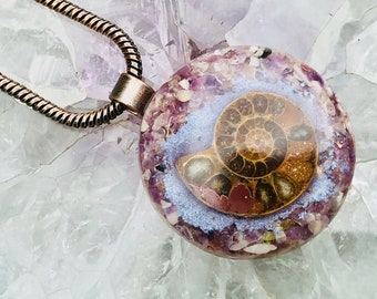 Orgonite® Orgone Pendant (Medium) - Ammonite/Amethyst - FREE WORLDWIDE SHIPPING!