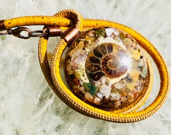 Orgonite® Pendant (Large) - Ocean Jasper/Sunstone/Tigers Eye/Ammonite - FREE WORLDWIDE SHIPPING!