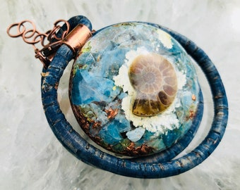 Orgonite® Orgone Pendant (Large) - Ammonite/Blue Apatite/Peridot - FREE WORLDWIDE SHIPPING!