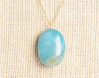 Amazonite oval pendant necklace, Rose Gold necklace, sterling silver necklace, gold necklace, semiprecious, rose