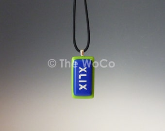 Superbowl XLIX Necklace - Blue and Green, White Letters - Seahawks Colors Hand-Made Fused Glass
