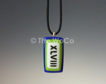 Superbowl XLVIII Necklace - Blue and Green, Black Letters - Seahawks Colors Hand-Made Fused Glass