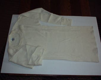 1990's Men's S/C 34-38 J.E. MORGAN Long Johns off-white Waffle fabric Thermal Under SHIRT w/Long Sleeve & Round Neck - New without tag, Rare