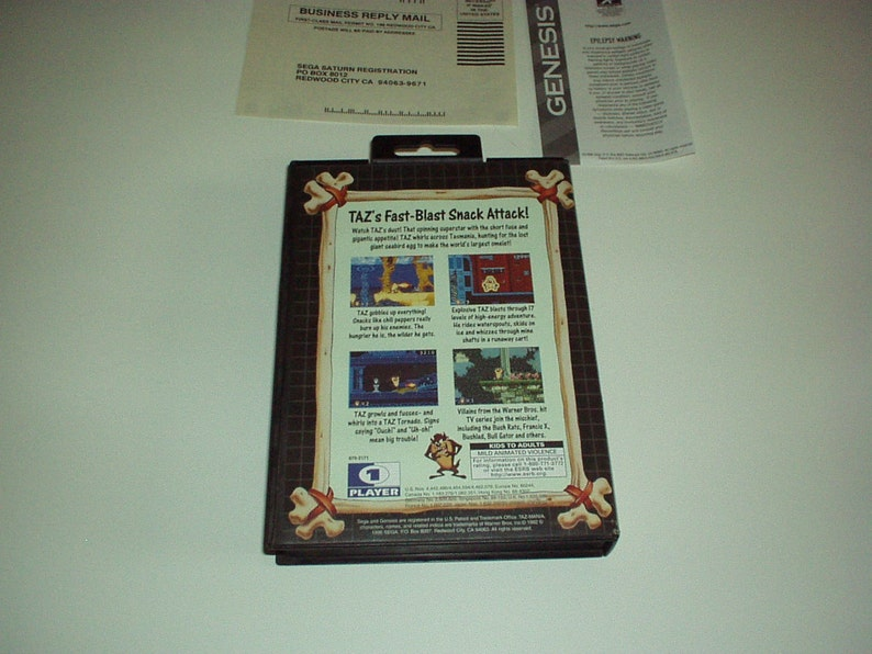 Rare Watch Taz Dust! 1996 Genesis TAZ MANIA SEGA Cartridge in Case with Instruction Manual /& Paperwork New in Open Unused Case