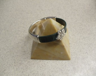 HandmadeLeather Cuff With A Single Silver Plated  Jasmine Flower RM95