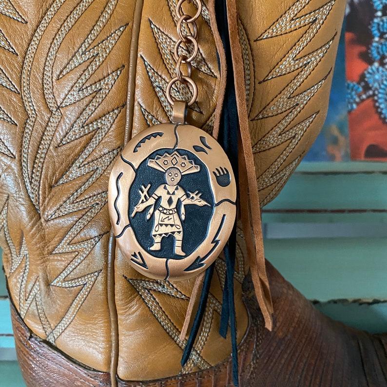 handbag charm Handmade Leather Tassel purse charm with a Vintage Copper Charm bag Charm