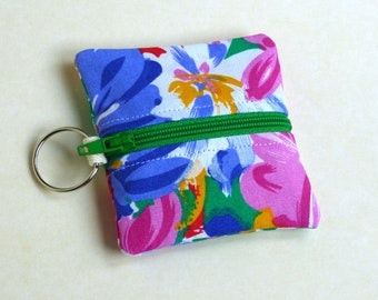 Ear Bud Pouch with Key Ring - bright floral print