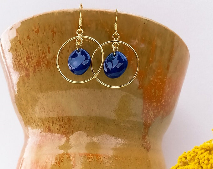 Long blue gold earrings, blue handmade porcelain pearls with gold creole