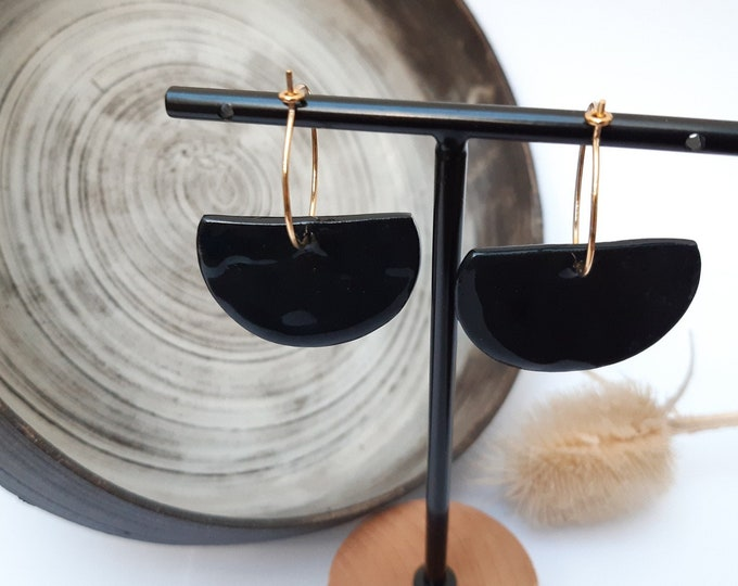 Black porcelain ceramic earring