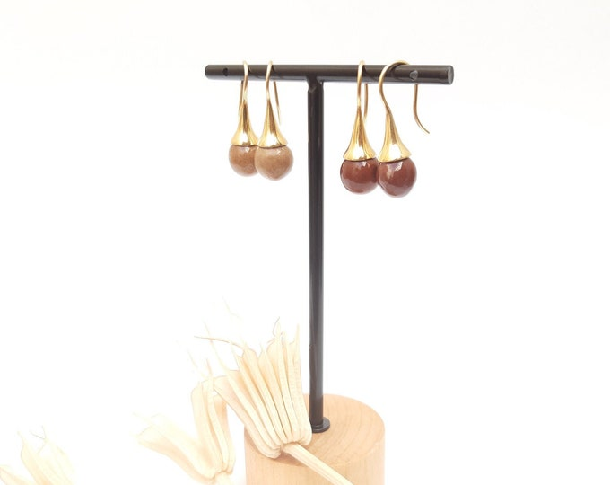 Light, dark Brown / beige/ caramel earring: gold earring with handmade brown ceramic bead