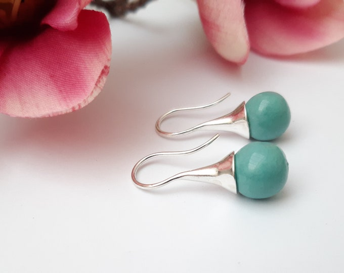 Skyblue : Long real silver earring with handmade ceramic bead
