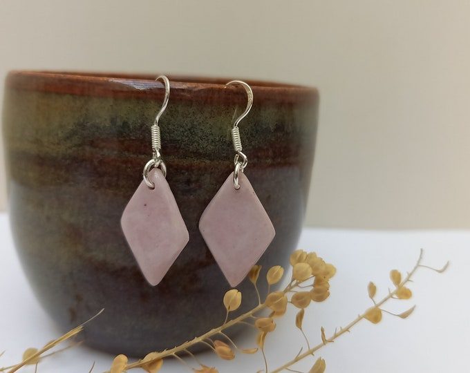 Pastel purple rhombic earring on a long real silver earrings