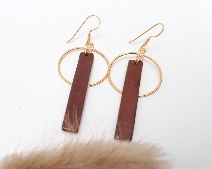 Rectangle long brown gold porcelain ceramic earring
