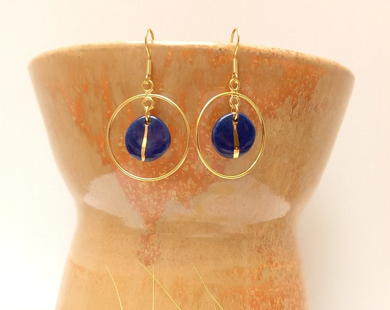 Long blue gold earrings, blue gold handmade porcelain pearls with gold creoles