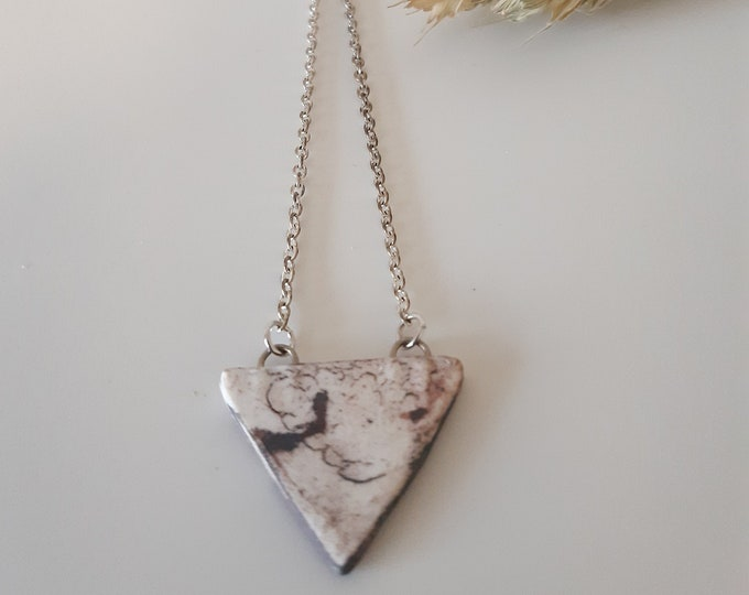 Mottled/spotted white porcelain bead on sterling silver necklace