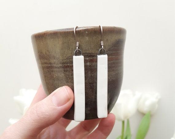 Handmade rectangle white porcelain earrings , short or long