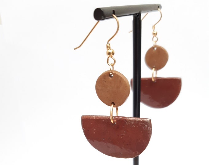 Beige brown gold porcelain ceramic earring