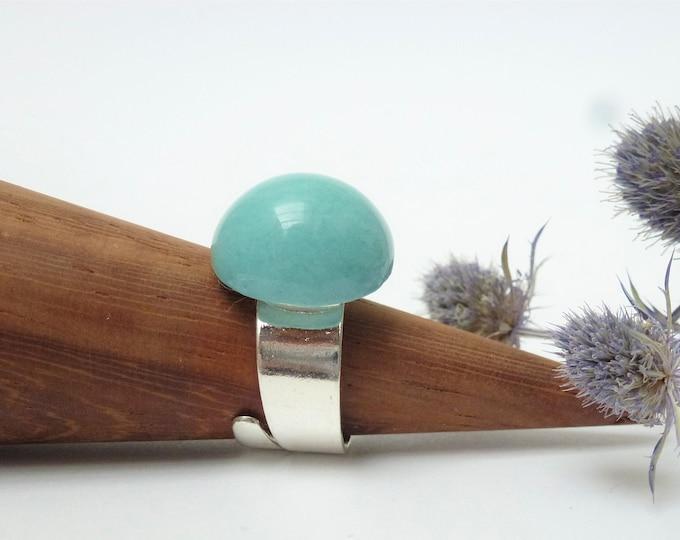 Lightblue, pastel blue hemisphere ring
