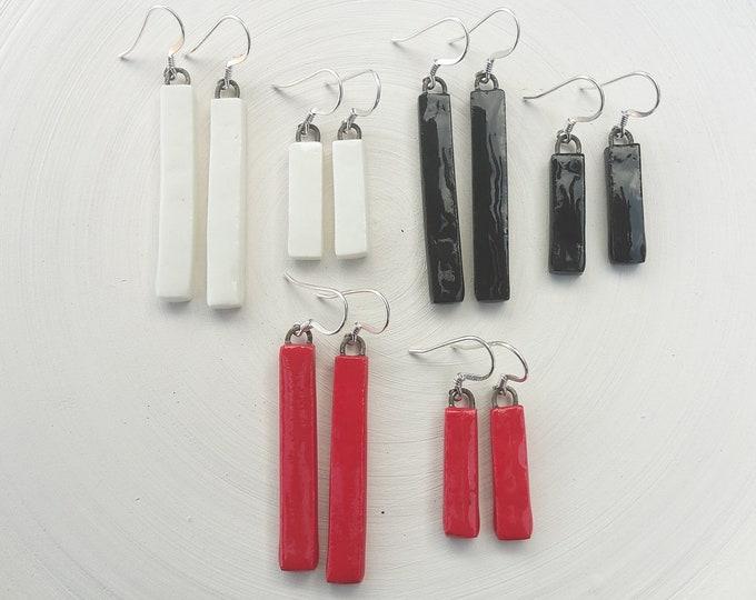 Handmade rectangle porcelain earrings red, white or black, short or long