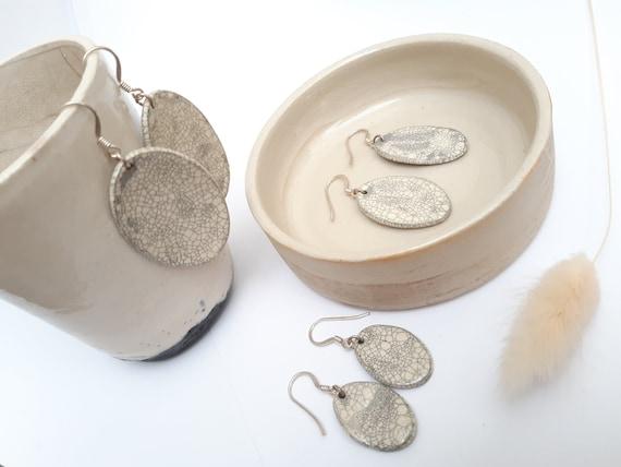 Oval raku white ceramic earrings