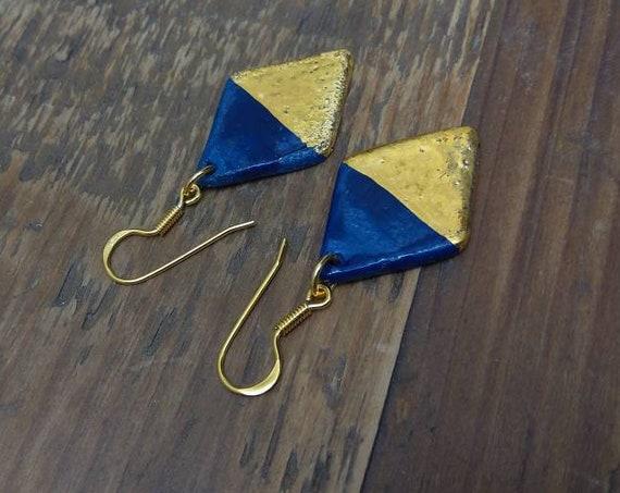 Handmade ceramic rhombus gold blue porcelain earrings