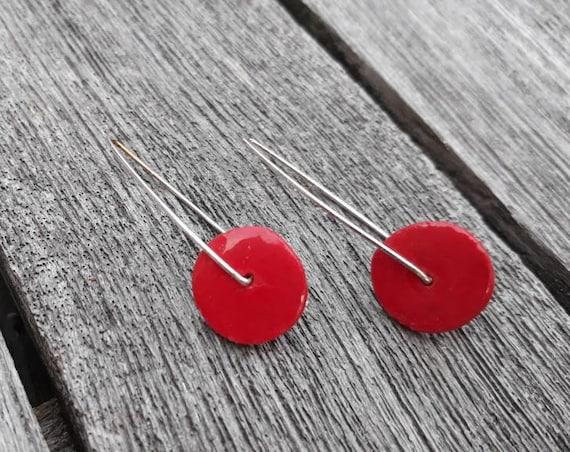 Red / dark pink long earrings: slices